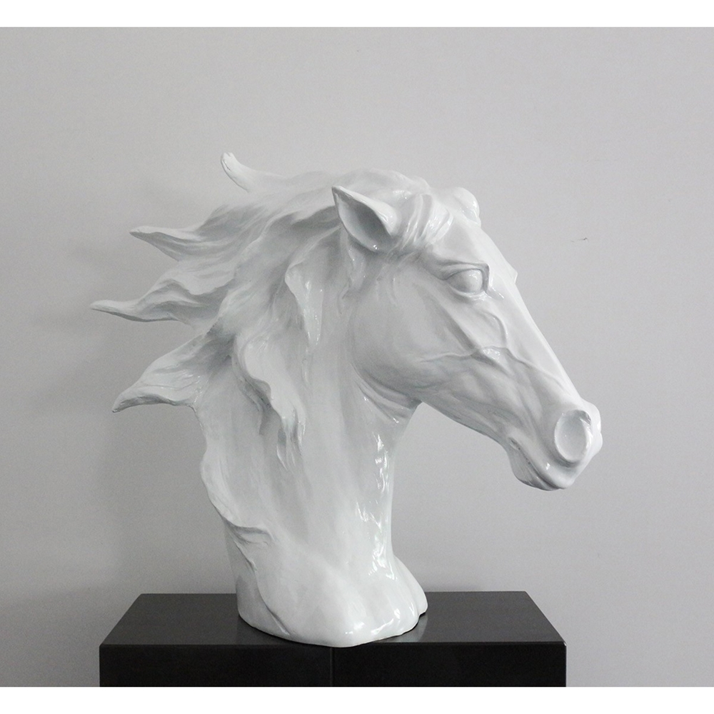 Modrest horse head sculpture white dcg stores - Home interior horse pictures for sale ...