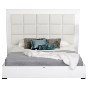 A&X Glam Bed - White Crocodile Lacquer