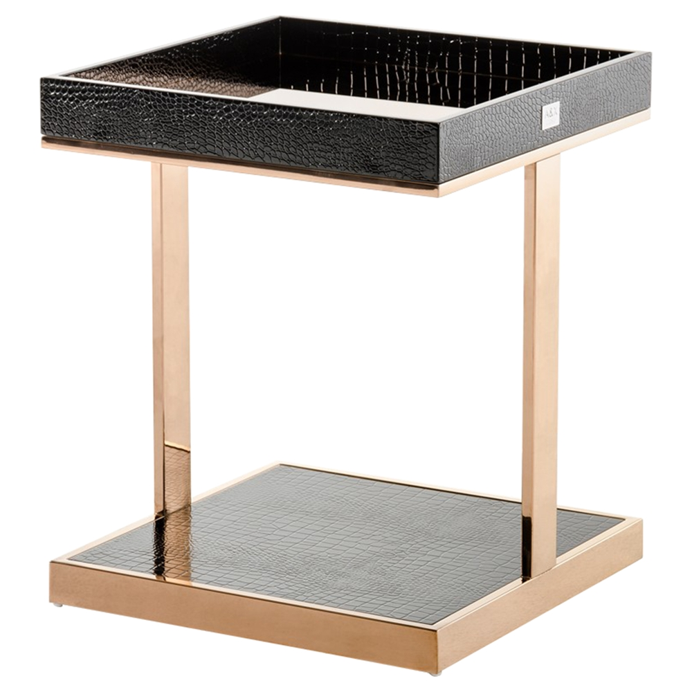 Small Modern House Interior Design: A&X Padua Modern Small End Table - Black And Gold