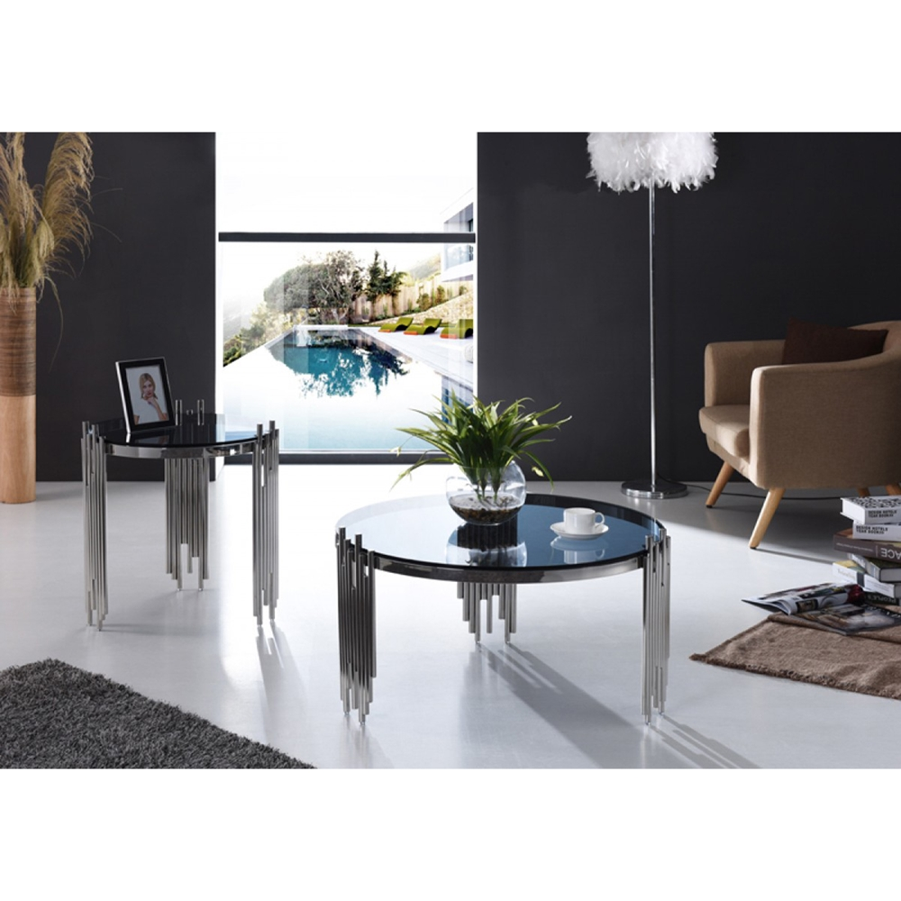 Modrest Upton Modern Square Glass Coffee Table Coffee: Modrest Totem Coffee Table - Smoked, Chrome