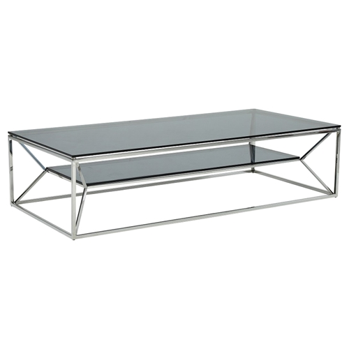 Modrest Upton Modern Square Glass Coffee Table Coffee: Modrest Facet Glass Coffee Table - Shelf, Smoked