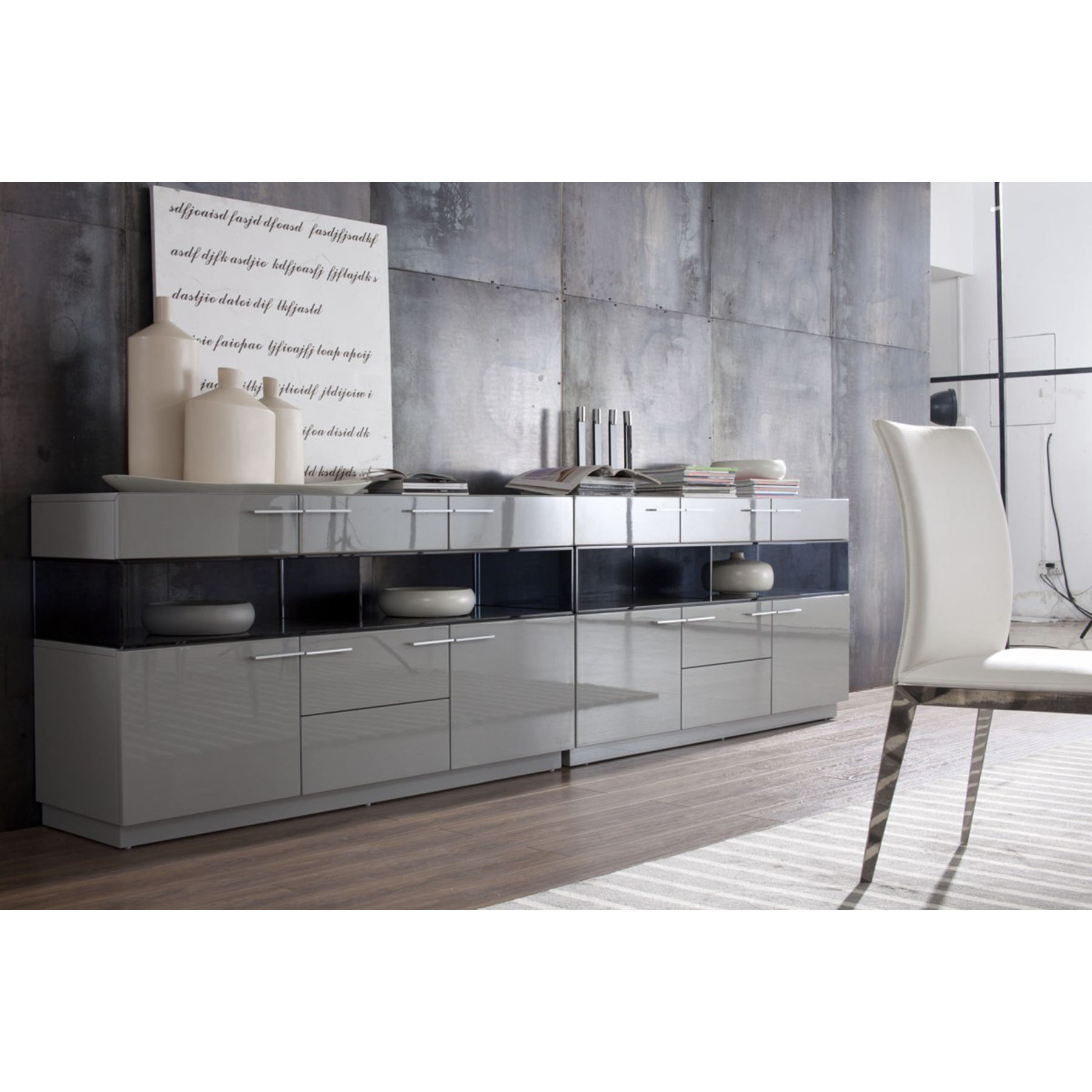... Modrest Daytona Modern High Gloss Buffet   7 Drawers, Gray   VIG VGWCEGOB122  ...