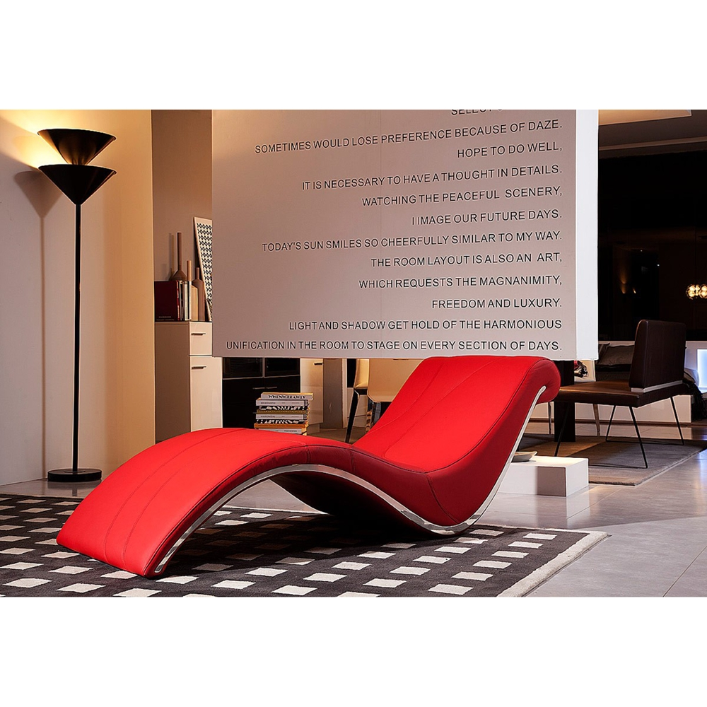 divani casa essen lounge chaise red dcg stores. Black Bedroom Furniture Sets. Home Design Ideas