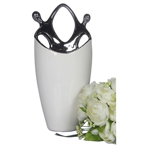 Modrest Ceramic Vase - White, Silver