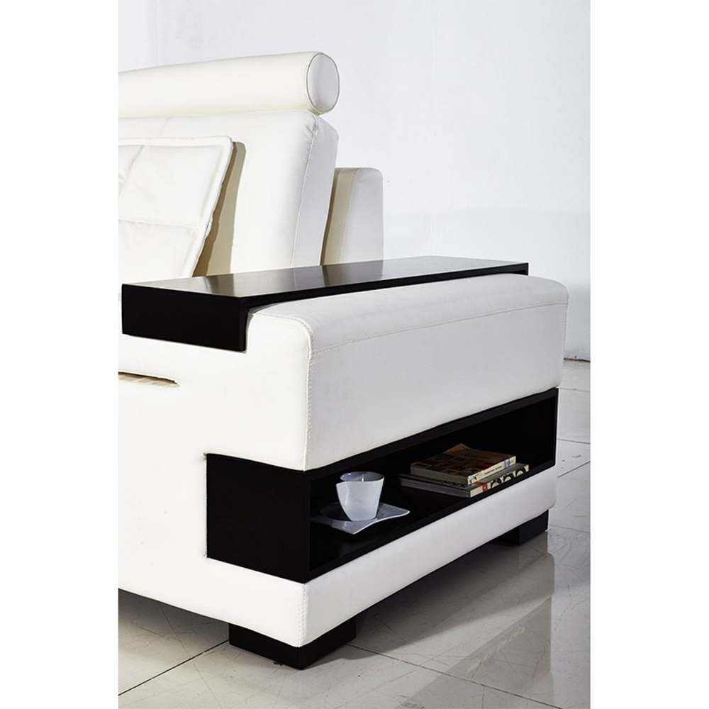 Divani Casa Diamond Modern Bonded White Leather Sectional Sofa: Divani Casa Diamond Sectional Sofa - White