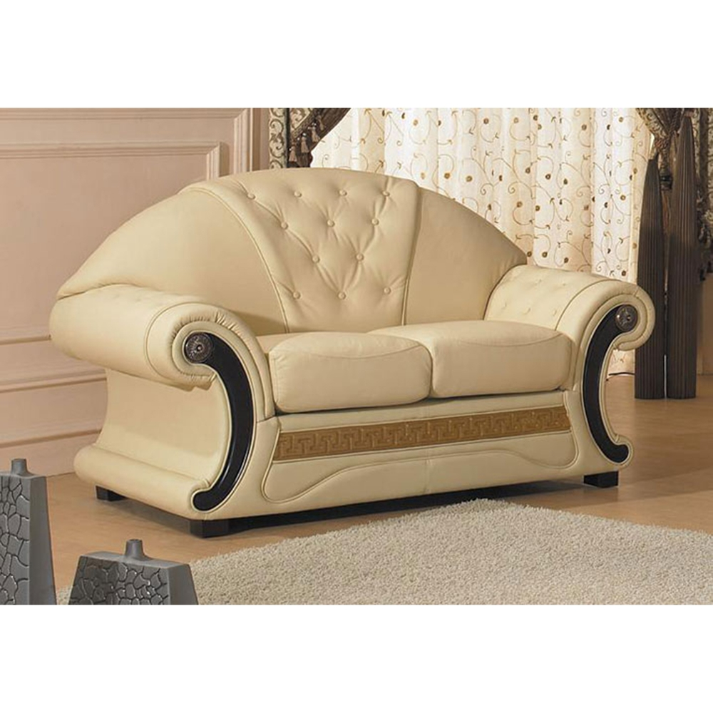 Cleopatra leather sofa set white tufted dcg stores for Cleopatra sofa bed