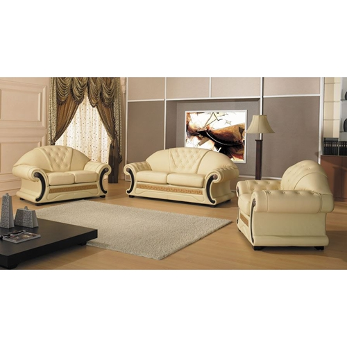 Cleopatra leather sofa set white tufted dcg stores for Cleopatra bedroom set