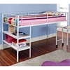Twin Loft Bed with Desk and Shelves - Metal, White Finish - WAL-BTLD46SPWH