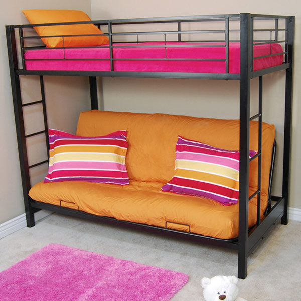 Medium image of sunset twin   futon bunk bed in black   wal btofbl