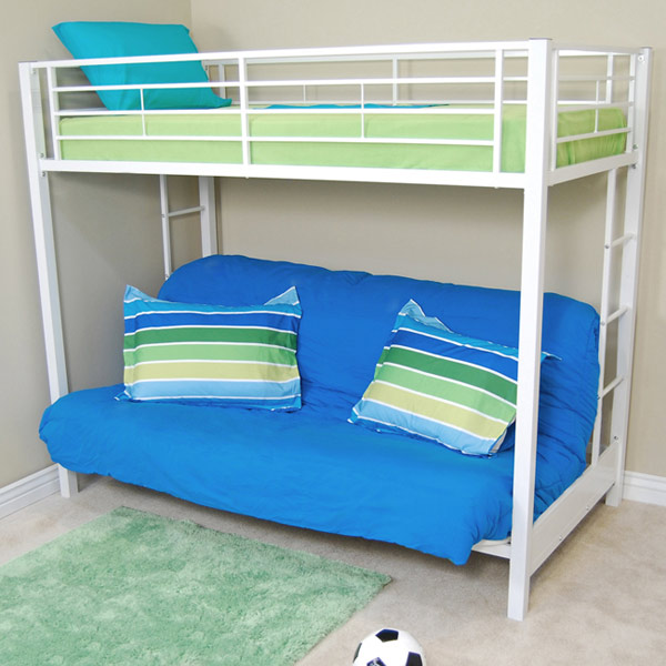 Sunrise twin futon bunk bed in white dcg stores - Litera sofa carrefour ...