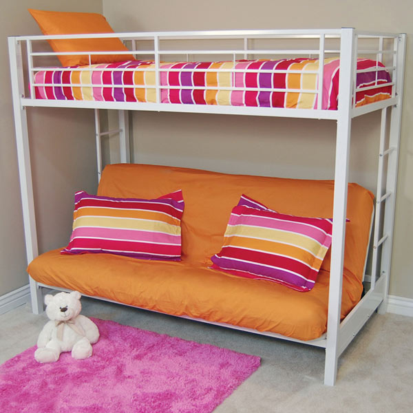 Sunrise Twin Futon Bunk Bed In White Dcg Stores