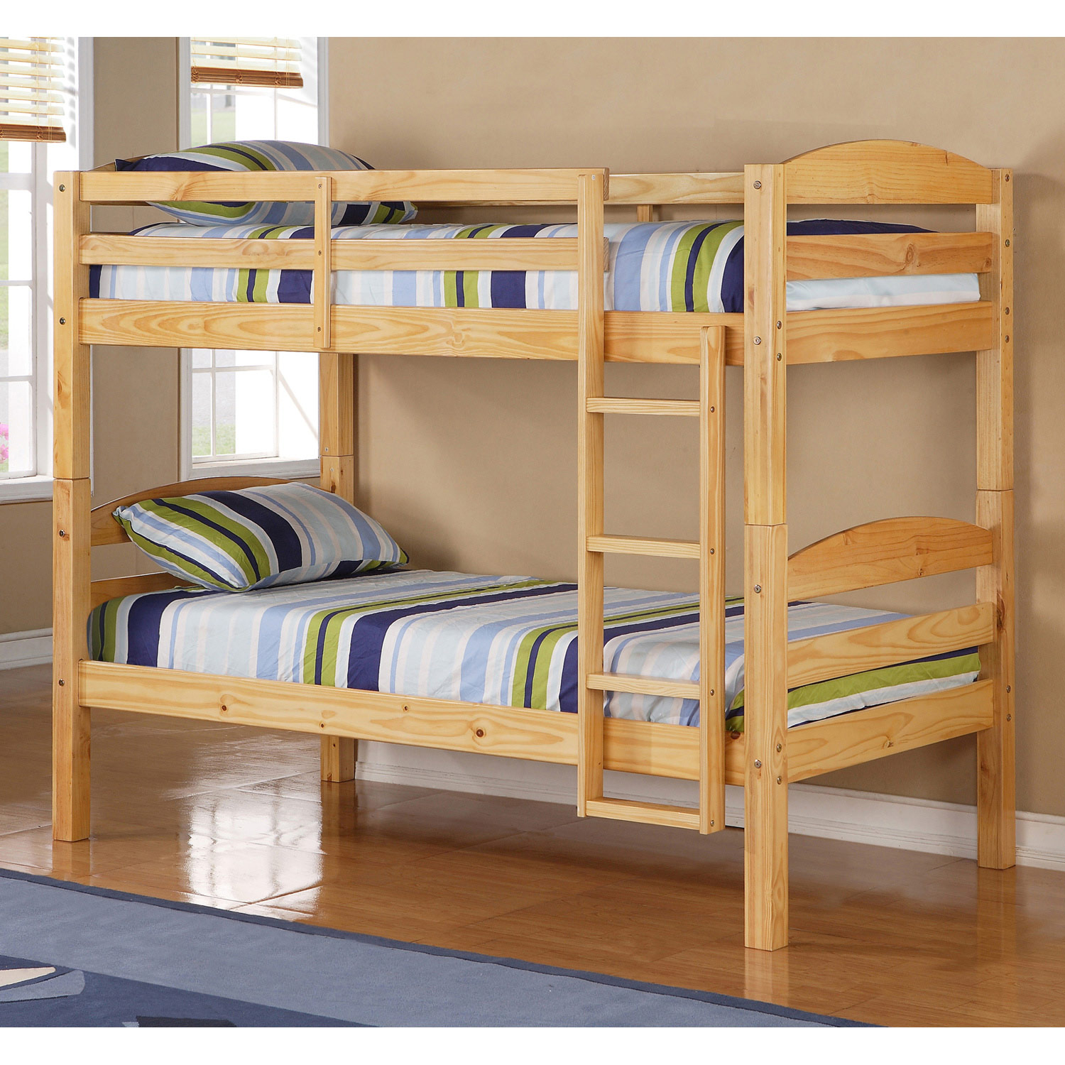 Shaker Style Twin Bunk Bed Solid Wood Natural Finish
