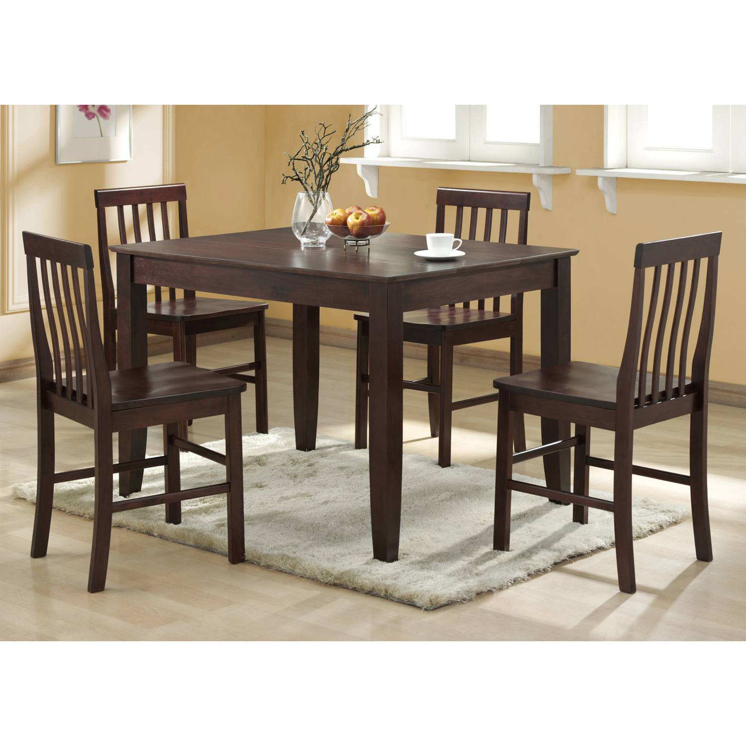 Abigail 5-Piece Wood Dining Set in Espresso