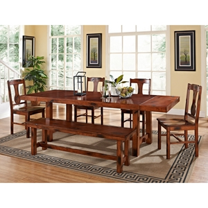 Huntsman 6 Piece Wood Dining Set - Extension Leaves, Dark Oak