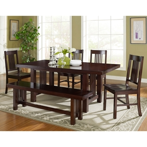 Meridian 6 Piece Wood Dining Set - Cappuccino Finish