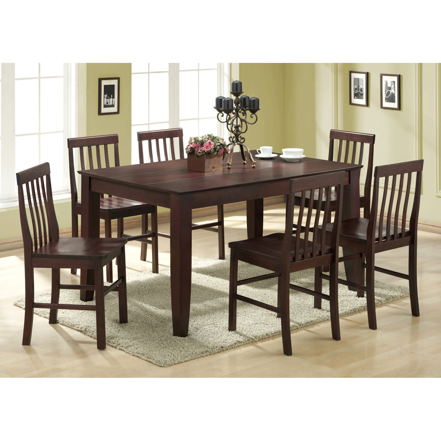 Abigail 7-Piece Wood Dining Set in Espresso