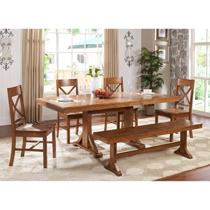 Millwright 6 Piece Wood Dining Set - X Back Chairs, Antique Brown
