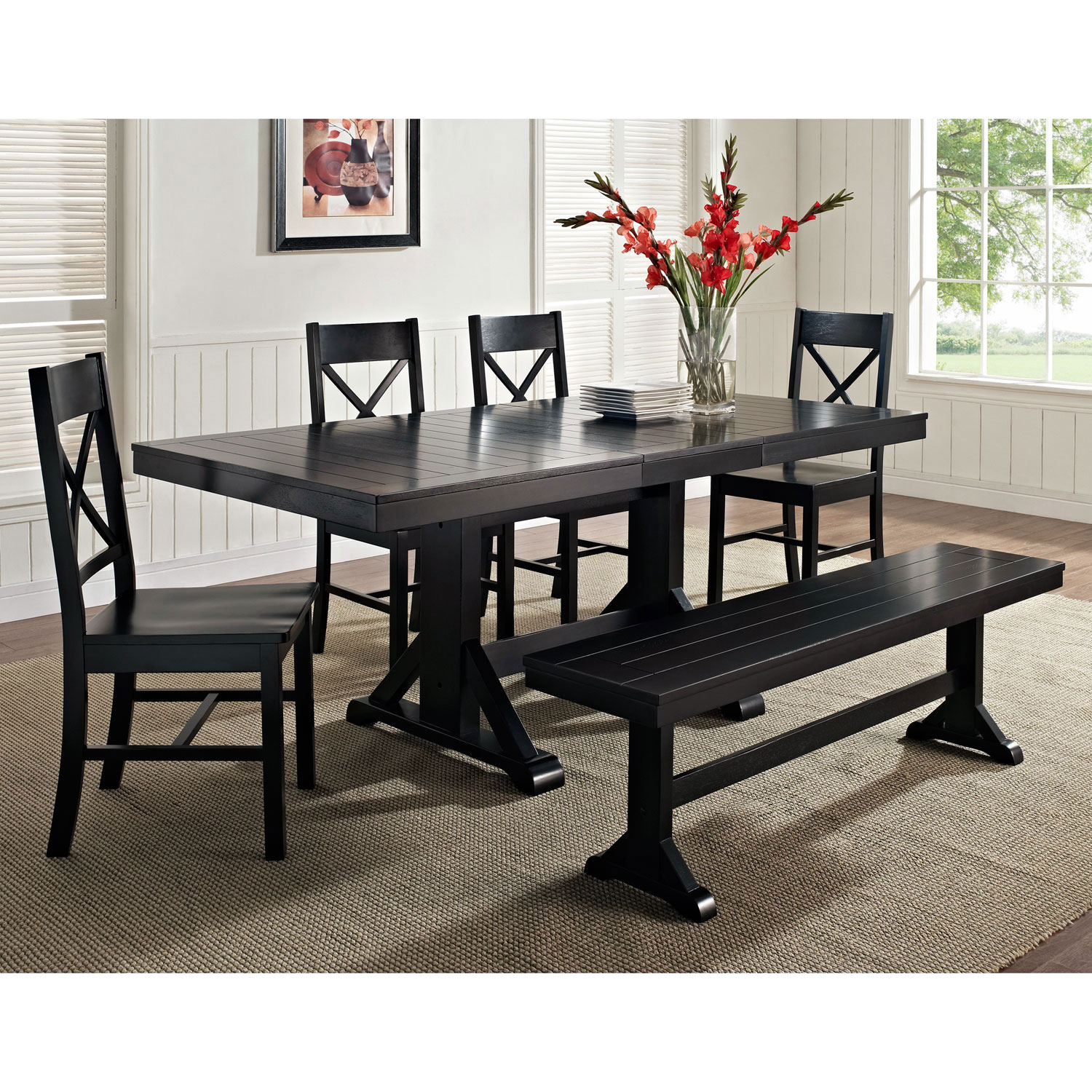 Millwright Wood Dining Chair X Back Black Set Of 2