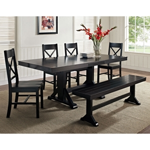 Millwright 6 Piece Wood Dining Set - X Back Chairs, Black