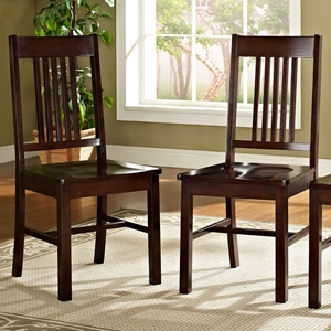Meridian Slat Back Dining Chair - Cappuccino Finish (Set of 2)