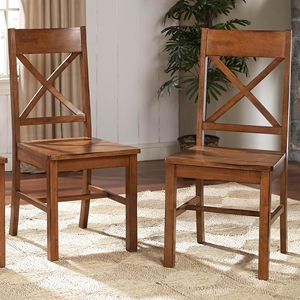 Millwright Dining Chair - X Back, Antique Brown (Set of 2)