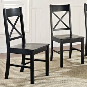 Millwright Wood Dining Chair - X Back, Black (Set of 2)