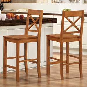 Millwright X-Back Counter Stool - Antique Brown (Set of 2)