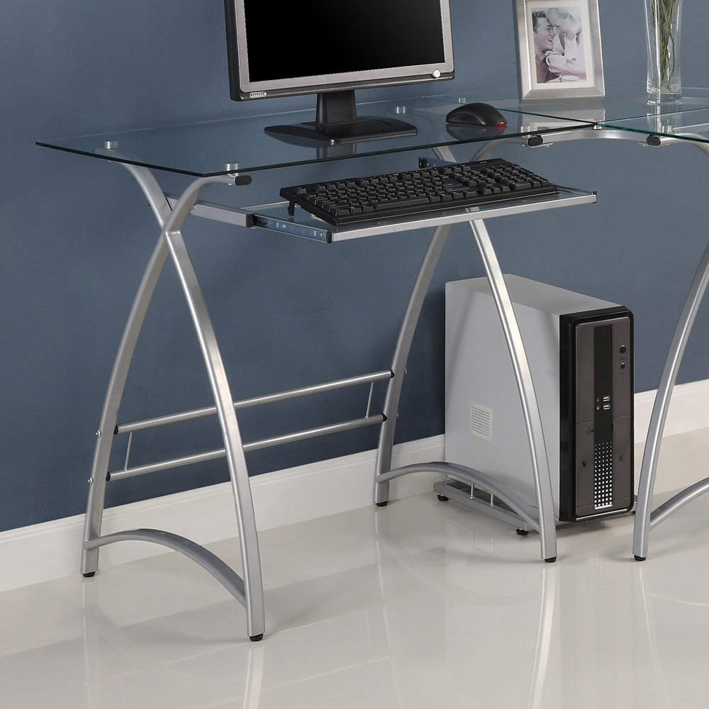 L Shaped Computer Desk Clear Glass Silver Finished