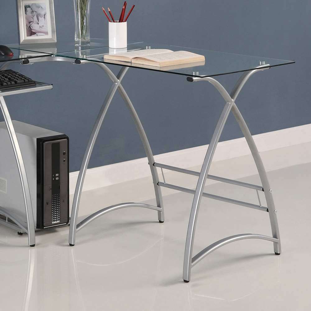 L-Shaped Computer Desk - Clear Glass, Silver Finished Steel - WAL-D51AL30