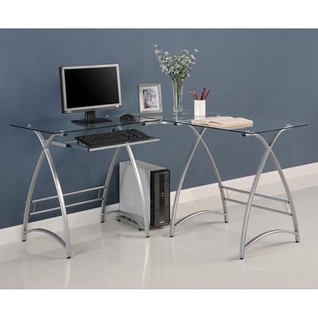 l shaped computer desk clear glass silver finished steel dcg stores. Black Bedroom Furniture Sets. Home Design Ideas