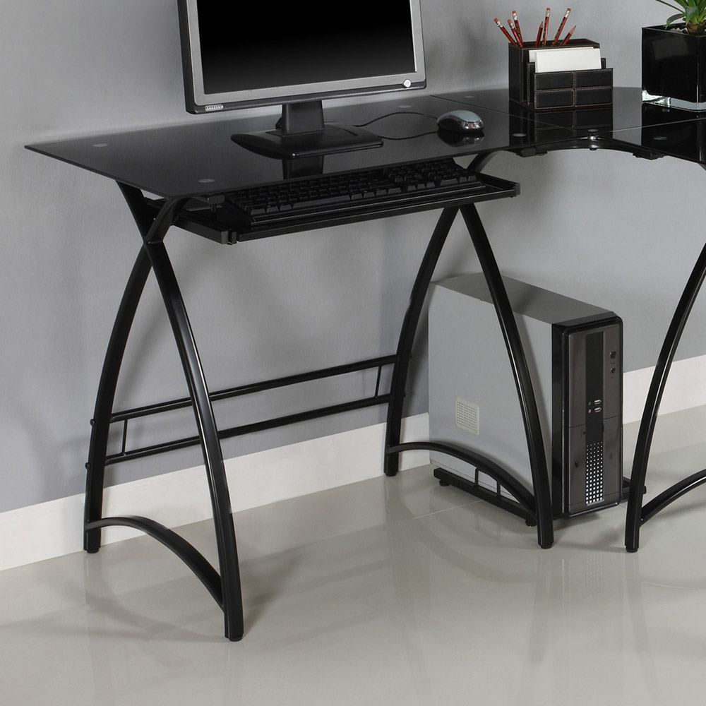 l shaped computer desk black glass black finished steel dcg stores. Black Bedroom Furniture Sets. Home Design Ideas