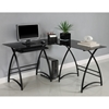 L-Shaped Computer Desk - Black Glass, Black Finished Steel - WAL-D51AL30B