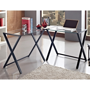 L-Shaped Steel Desk - Clear Glass Top, Black Cross Legs