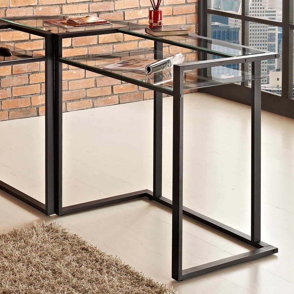 C Frame Corner Computer Desk Black Metal Clear Glass