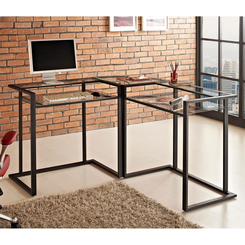 C Frame Corner Computer Desk Black Metal Clear Glass Wal D56c33cb