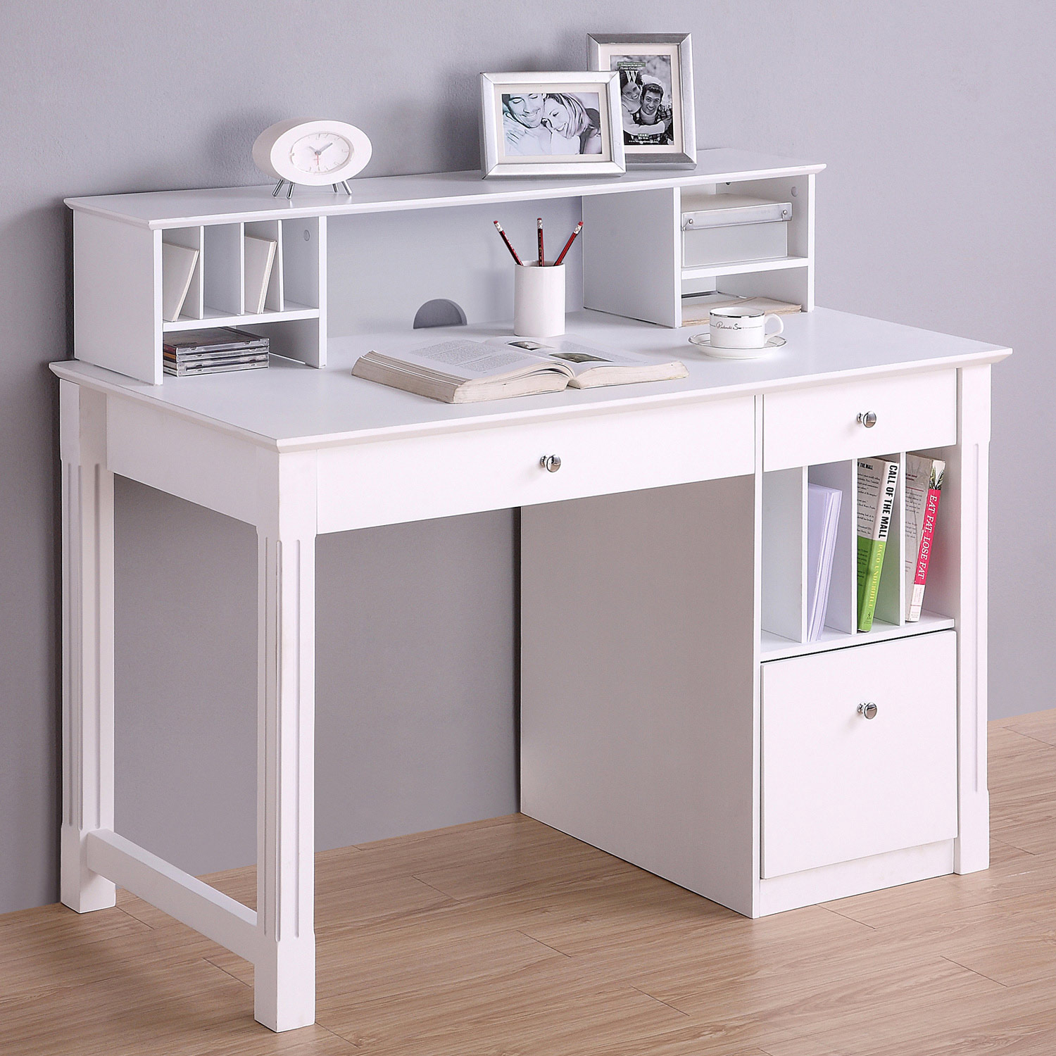 Deluxe Wood Desk And Hutch Set Hanging File Drawer