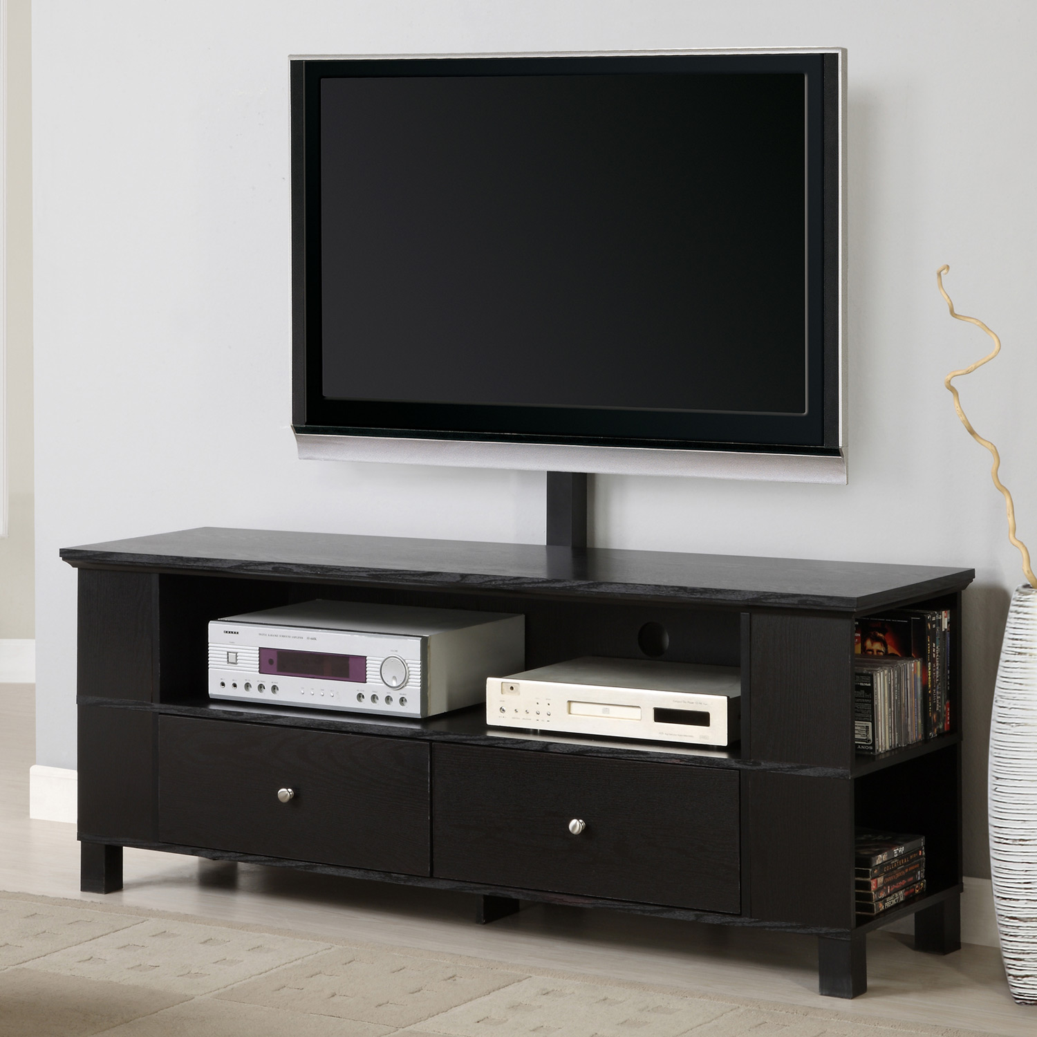 60 39 39 wood tv console with mount and multi purpose storage for Tv console with storage