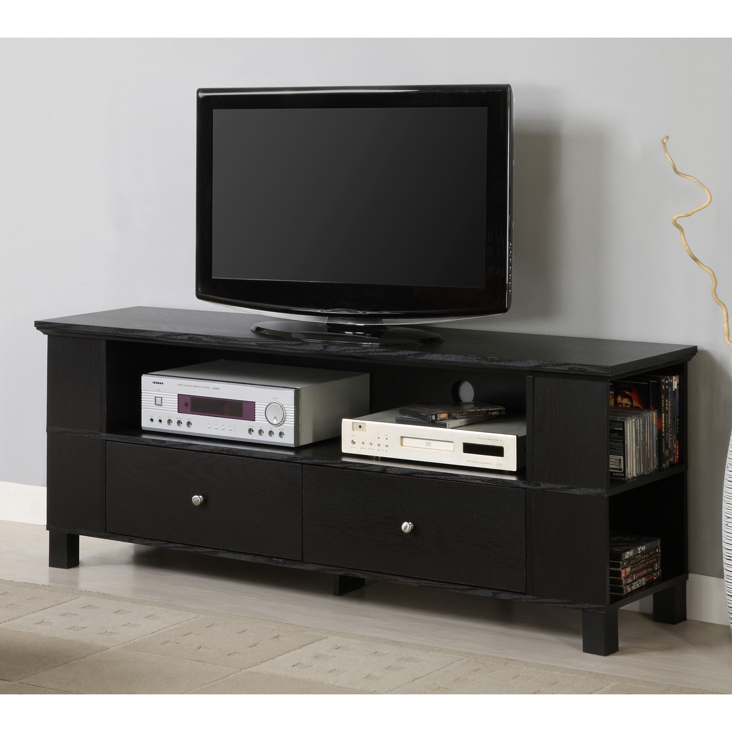 60 39 39 wood tv console with multi purpose storage black for Tv console with storage
