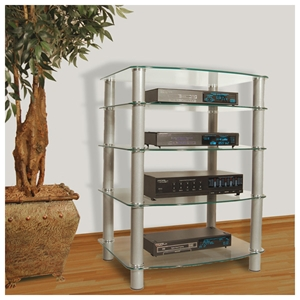 Everest Glass Multilevel Stereo Rack with Silver Poles Walker Edison Everest Glass Multilevel Stereo Rack with Silver Poles V35CMP