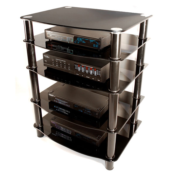... Everest Glass Multilevel Black Stereo Rack   WAL V35CMPB