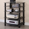 Everest Glass Multilevel Black Stereo Rack - WAL-V35CMPB