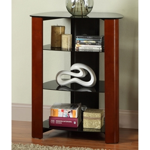 Regal Component Stand / Display Shelf - Black Glass, Cherry