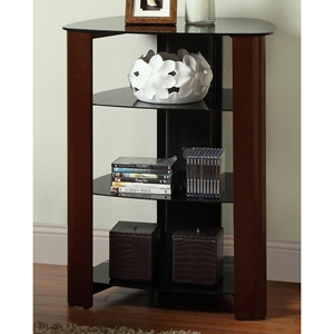 Regal Component Stand / Display Shelf - Black Glass, Espresso