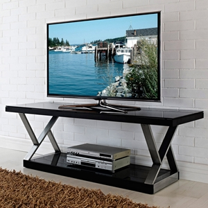 Double-X 60 Inch TV Stand - Black, Brushed Silver Accents