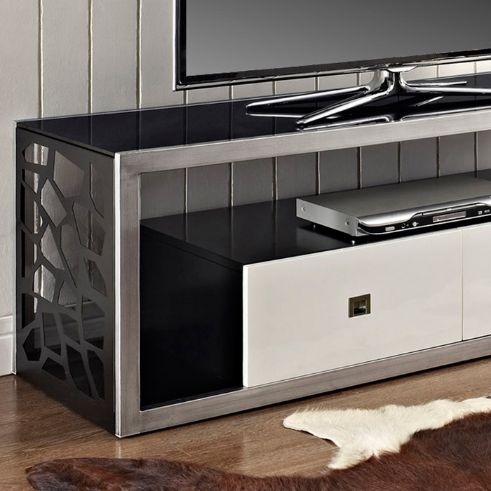 Modern Mosaic 60 Inch Steel TV Stand - Brushed Silver, 2 Drawers - WAL-V60MSC