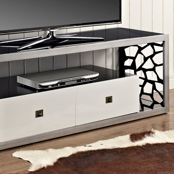 Modern Mosaic 60 Inch Steel TV Stand Brushed Silver 2 Drawers