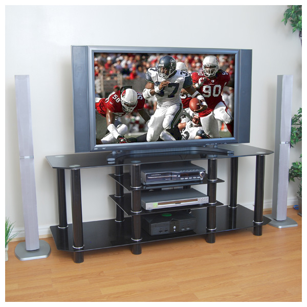 Dynasty Large 60 inch TV Stand (Black Glass)