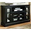 Highboy Style 52 Inch TV Stand - Black Finish, Clear Glass - WAL-W52C32BL