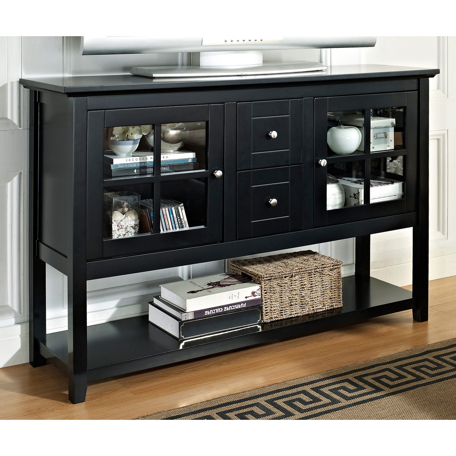 Tall TV Console / Sideboard - Window Pane Doors, Black - WAL-W52C4CTBL