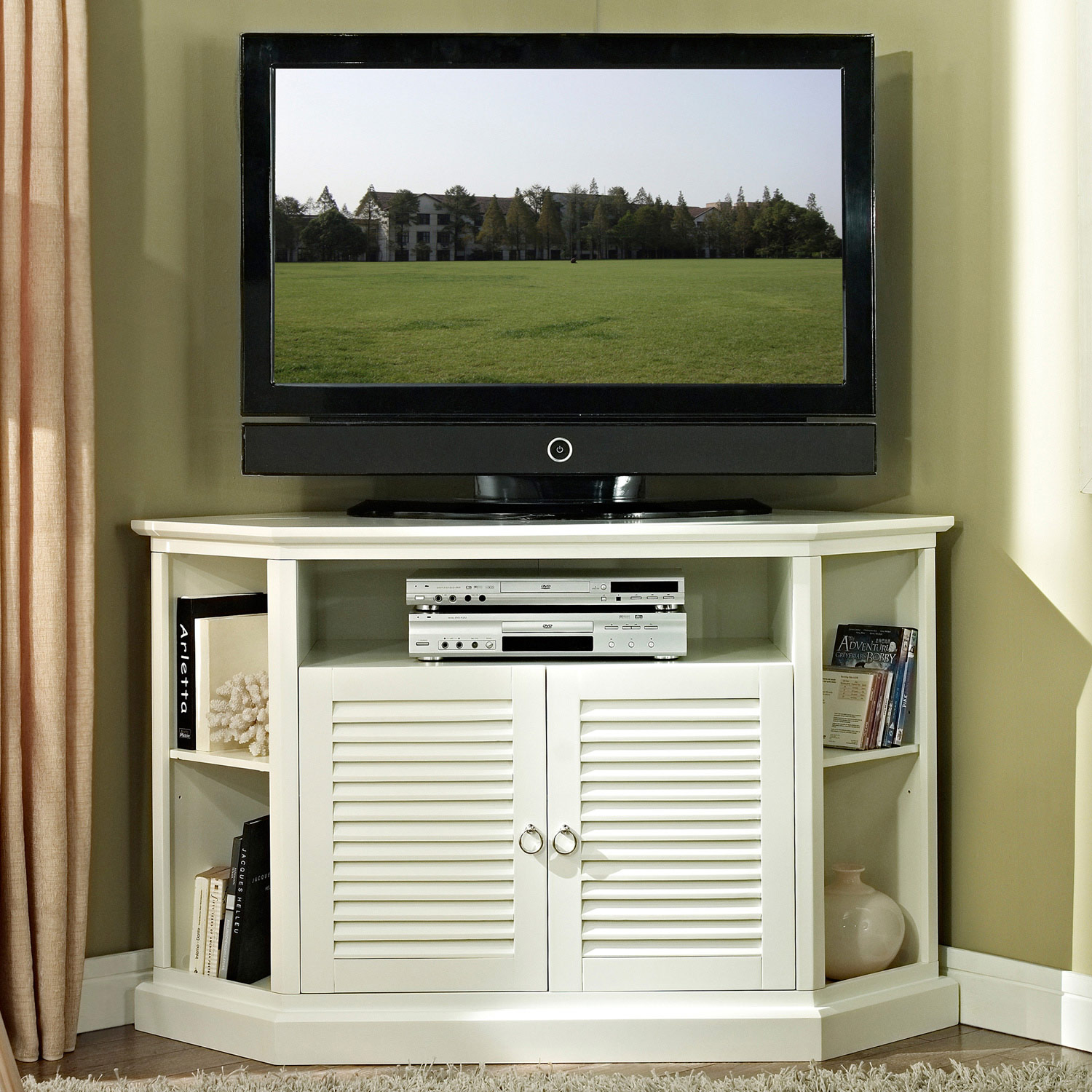 Cottage Style 52 Inch Corner TV Console - White Finish - WAL-W52CCRWH